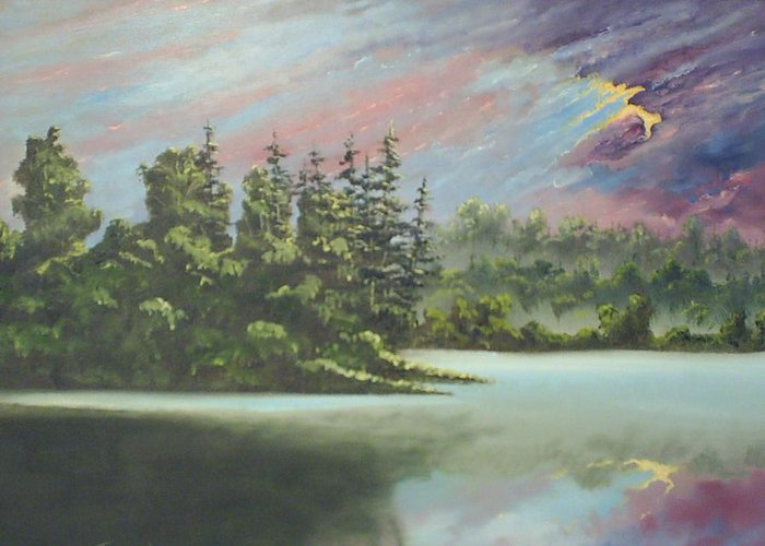 Landscape Greeting Card featuring the painting After The Rain by Dennis Vebert