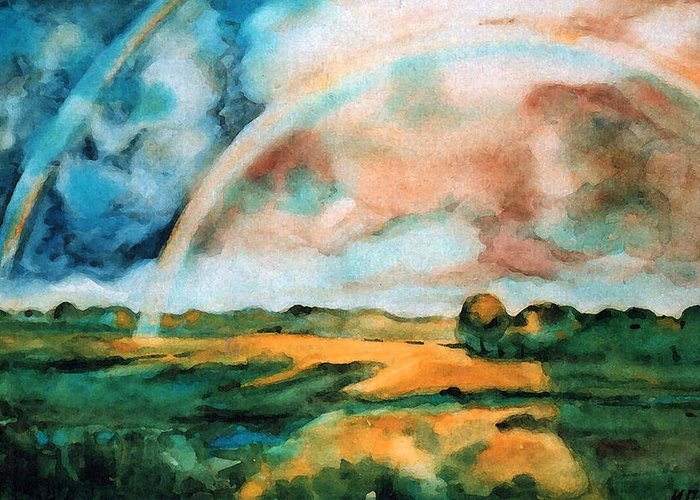 Landscape Greeting Card featuring the painting After The Rain by Iliyan Bozhanov
