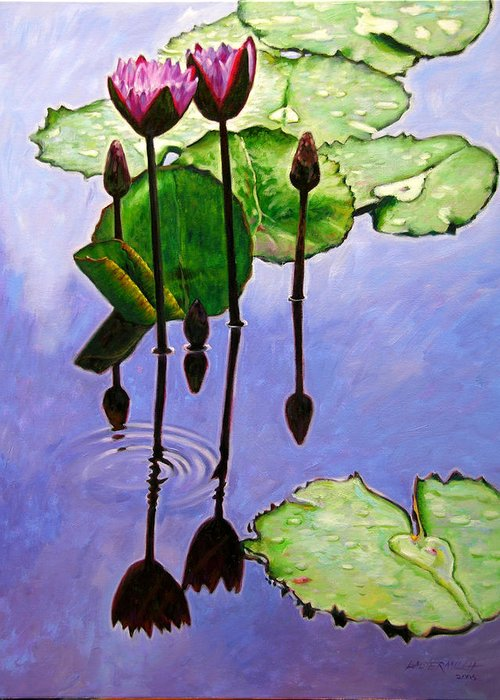 Rose Colored Water Lilies After A Morning Shower With Dark Reflections And Water Ripple. Greeting Card featuring the painting After The Shower by John Lautermilch