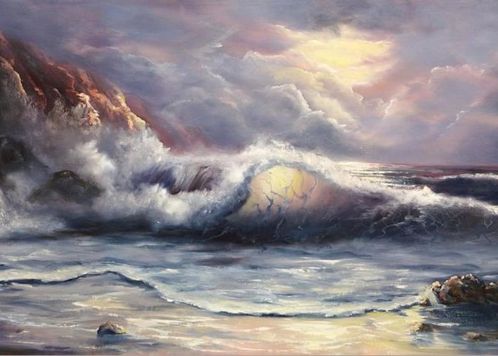 Ocean Greeting Card featuring the painting After The Storm by Joni McPherson