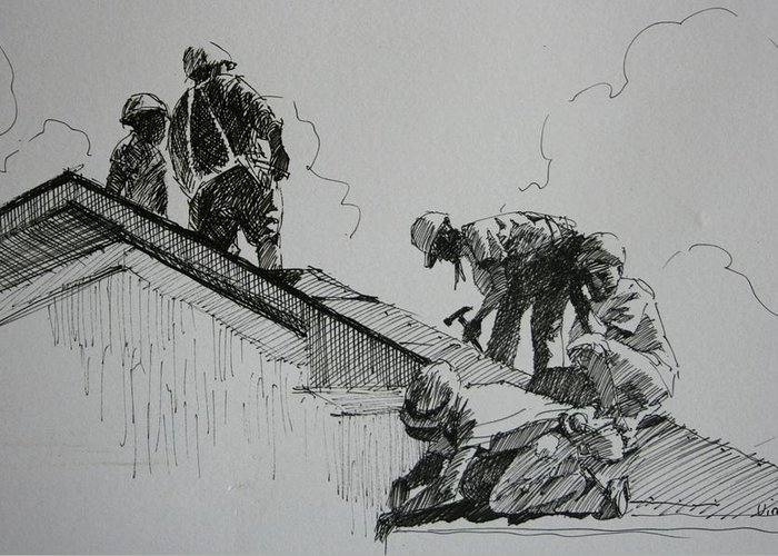 Pen And Ink Greeting Card featuring the drawing After The Storm by Michael Vires