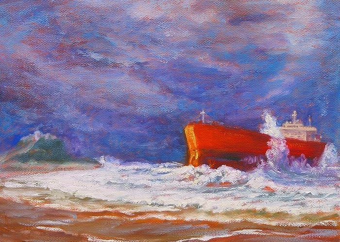 Pasha Bulker Tanker Stranded On Nobby Greeting Card featuring the painting After The Storm by Sue Linton