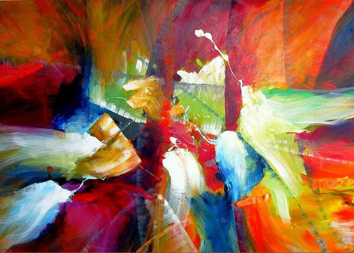 Abstract Modern Contemporary Original Greeting Card featuring the painting After Winning Sensation by Dan Bunea