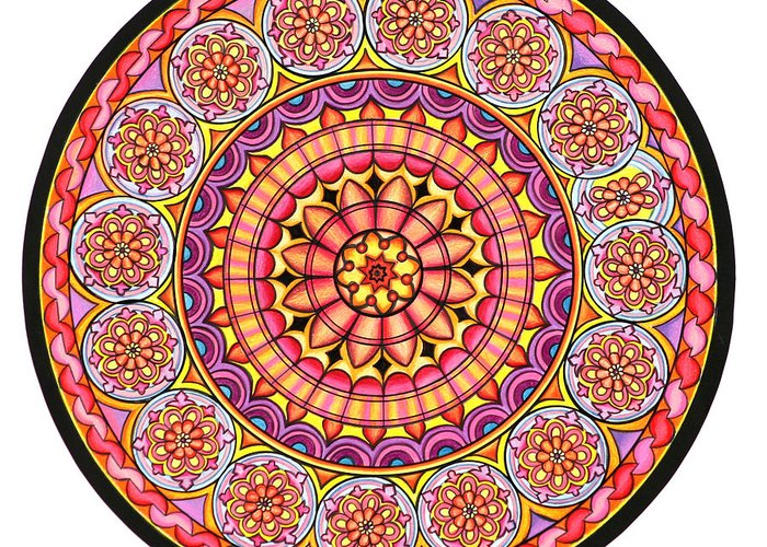 Mandala Greeting Card featuring the painting Afterglow by Marcia Lupo