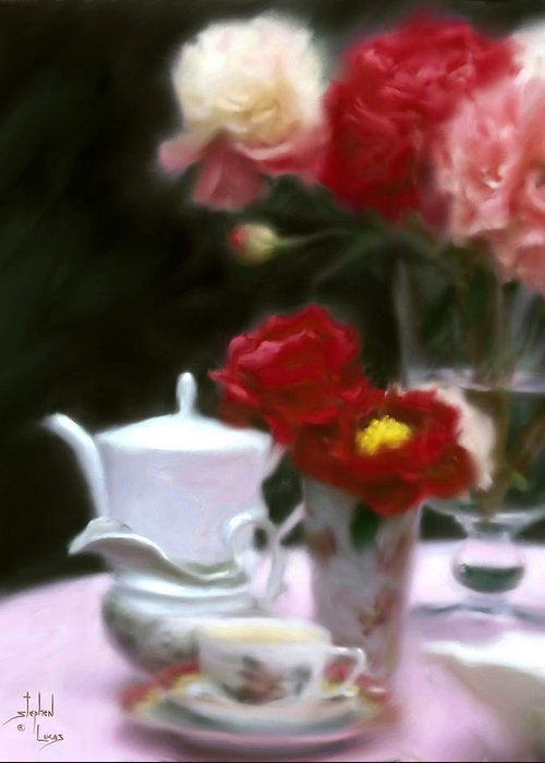 Peonies Greeting Card featuring the digital art Afternnon Tea With Peonies by Stephen Lucas
