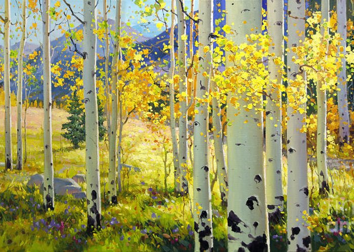 Aspen Oil Painting Birch Trees Gary Kim Oil Print Art Woods Fall Autumn Tree Panorama Sunset Beautiful Beauty Yellow Red Orange Fall Leaves Foliage Autumn Leaf Color Mountain Oil Painting Original Art Horizontal Landscape National Park America Morning Nature Wallpaper Outdoor Panoramic Peaceful Scenic Sky Sun Time Travel Vacation View Season Bright Autumn National Park Southwest Mountain Clouds Cloudy Landscape Afternoon Aspen Grove Natural Peak Painting Oil Original Vibrant Texture Reflections Greeting Card featuring the painting Afternoon Aspen Grove by Gary Kim