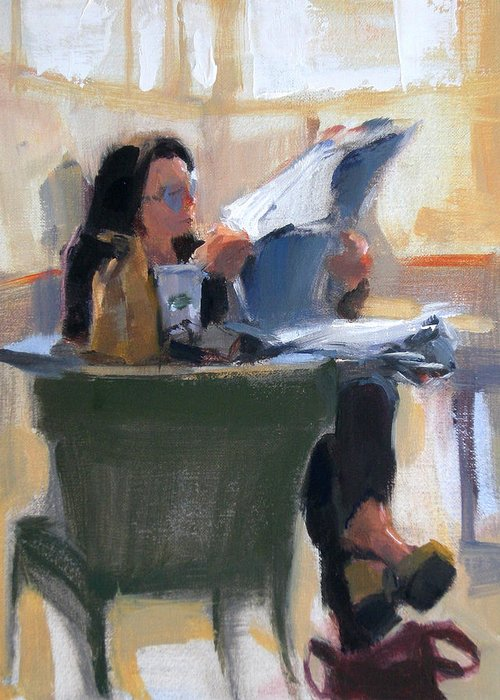 Figurative Greeting Card featuring the painting Afternoon Coffee Break by Merle Keller