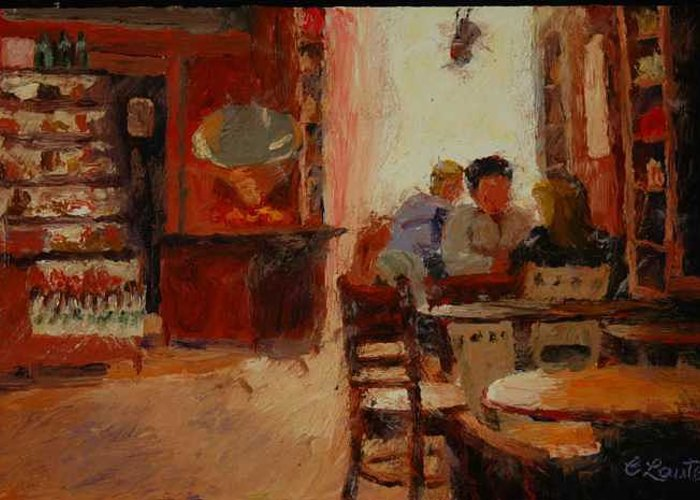 Interior At Coffee Shop Greeting Card featuring the painting Afternoon Espresso by Colleen Murphy