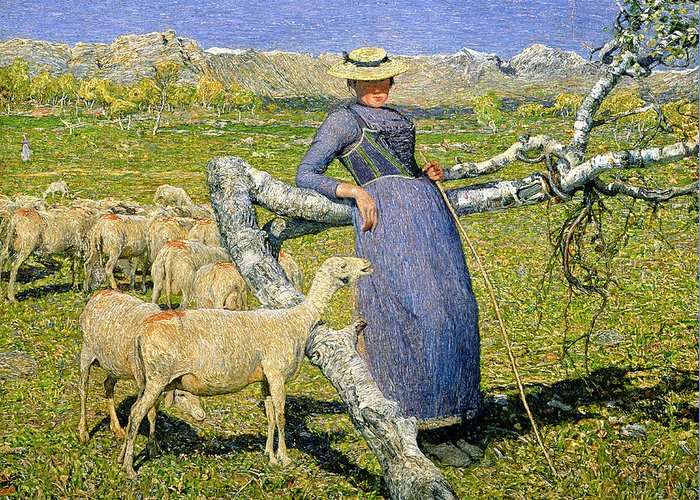 Afternoon In The Alps Greeting Card featuring the painting Afternoon In The Alps by Giovanni Segantini