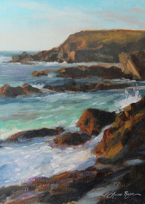 Landscape Greeting Card featuring the painting Afternoon Light Point Lobos by Anna Rose Bain