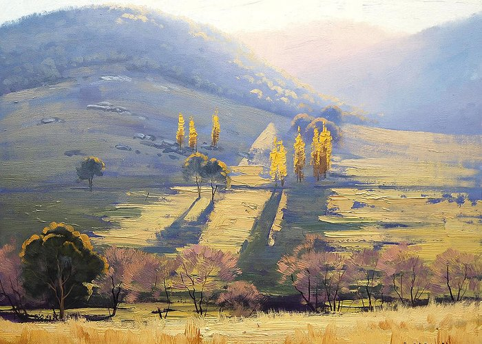 Rural Greeting Card featuring the painting Afternoon Light Tarana by Graham Gercken
