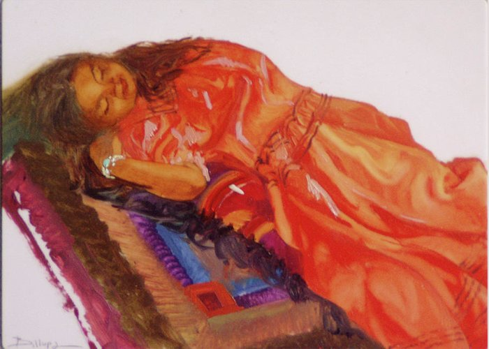 Miniatures Greeting Card featuring the painting Afternoon Nap by Betty Jean Billups