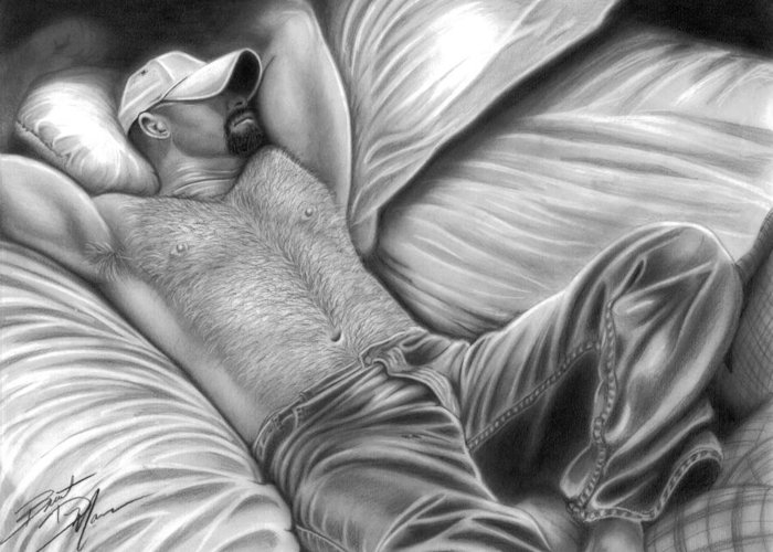 Men Greeting Card featuring the drawing Afternoon Nap by Brent Marr
