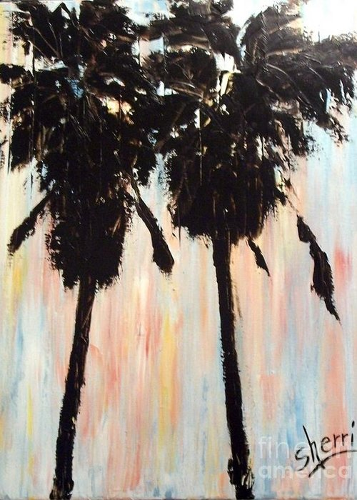 Palm Trees Greeting Card featuring the painting Afternoon Palms by Sherri Wimberly