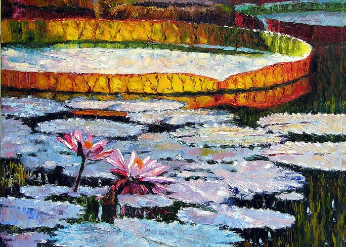 Water Lilies Greeting Card featuring the painting Afternoon Shadows by John Lautermilch