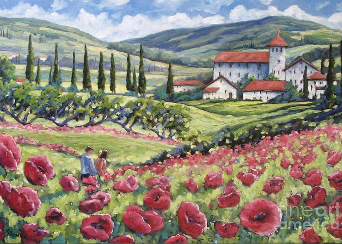 Tuscan Greeting Card featuring the painting Afternoon Stroll by Richard T Pranke