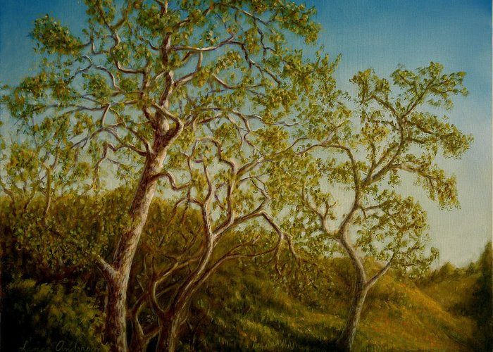 Tree Greeting Card featuring the painting Afternoon Sycamores by Lance Anderson