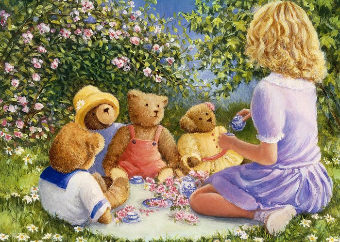 Teddy Bears Greeting Card featuring the painting Afternoon Tea by Susan Rinehart