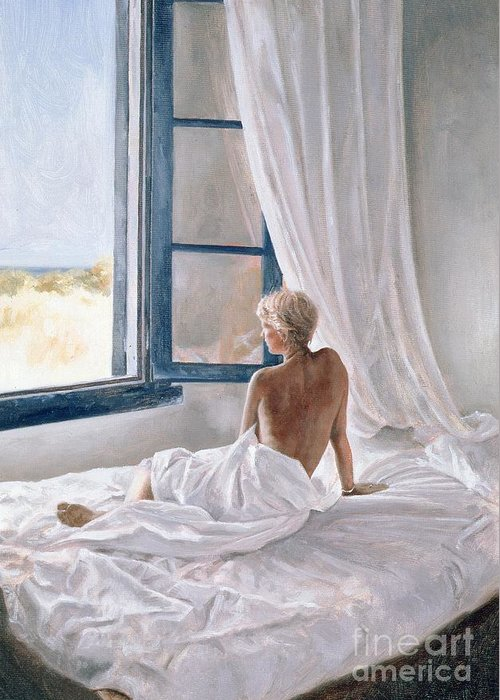 Bed; Sheets; Bedsheets; Window; Female; Nude; Bedroom; Nude Greeting Card featuring the painting Afternoon View by John Worthington