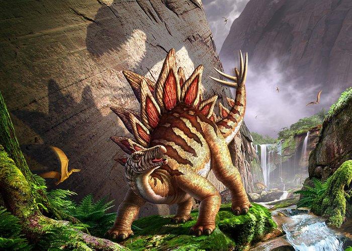 Stegosaurus Greeting Card featuring the digital art Against The Wall by Jerry LoFaro