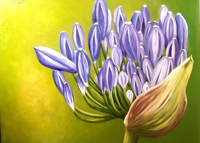 Flower Greeting Card featuring the painting Agapanthos by Natalia Tejera