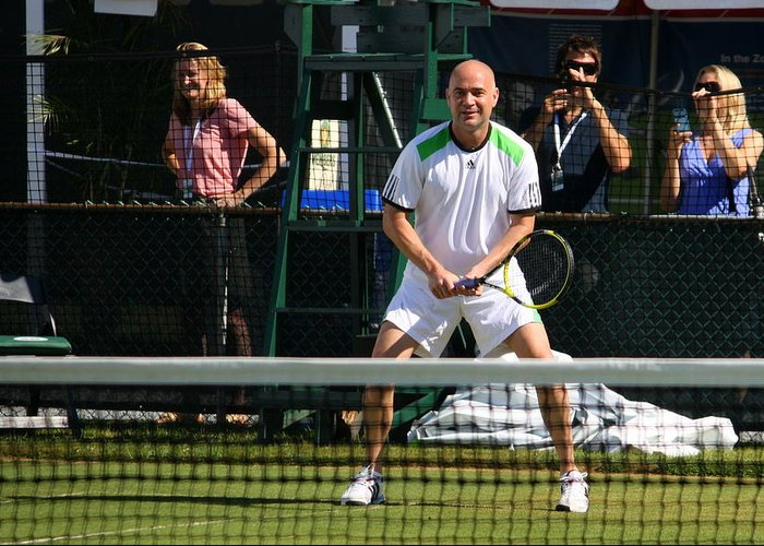 Andre Greeting Card featuring the photograph Agassi Warmup by Annie Babineau