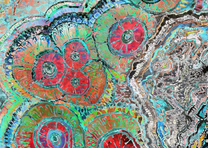 Agates Greeting Card featuring the painting Agate Inspiration - 16b by Sue Duda