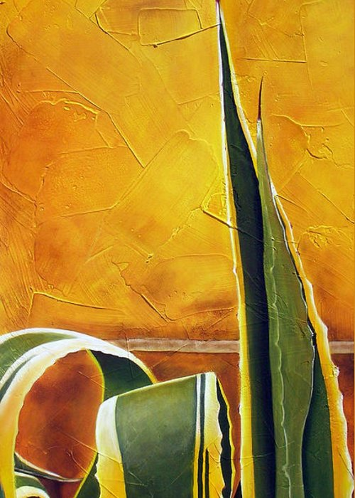 Agave Greeting Card featuring the painting Agave Americana by Maribel Garzon