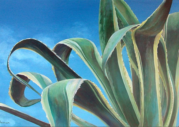 Floral Painting Greeting Card featuring the painting Agave by Muriel Dolemieux