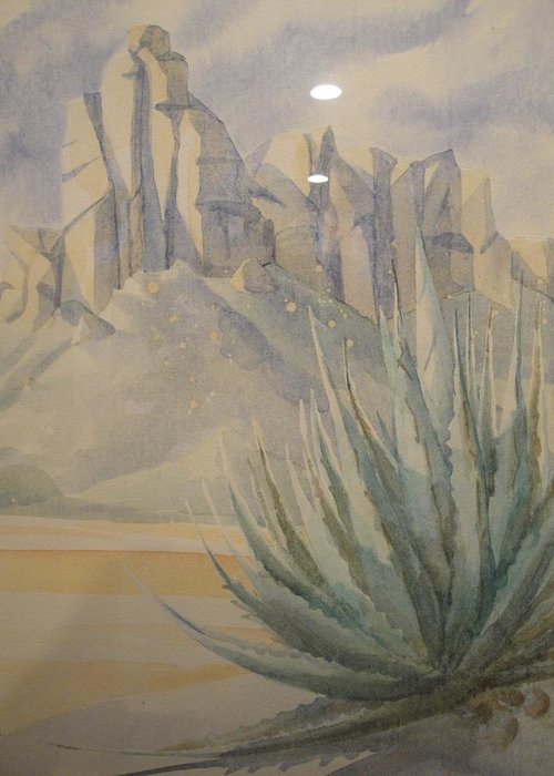 Desert Greeting Card featuring the painting Agave by Steven Holder
