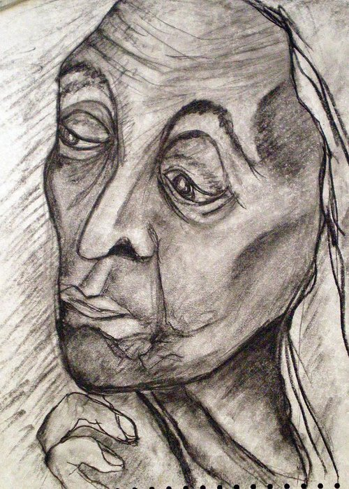 Woman Women Age Wisdom Old Portrait Portraits Greeting Card featuring the drawing Age And Wisdom by Tammera Malicki-Wong