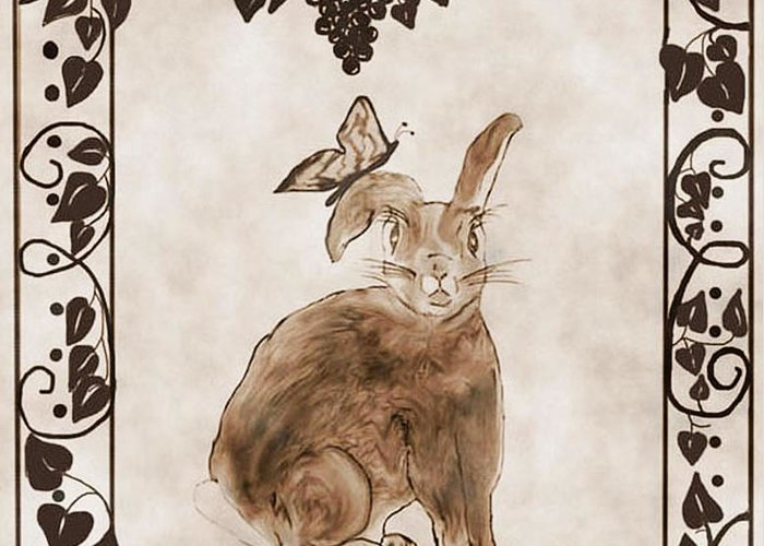 Bunny Greeting Card featuring the drawing Aged Bunny by Eva Thomas