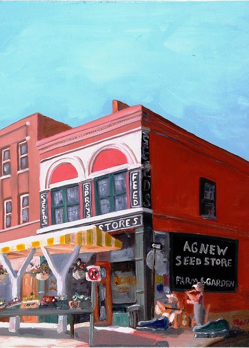 Roanoke Virginia Greeting Card featuring the painting Agnew Feed And Seed by Todd Bandy