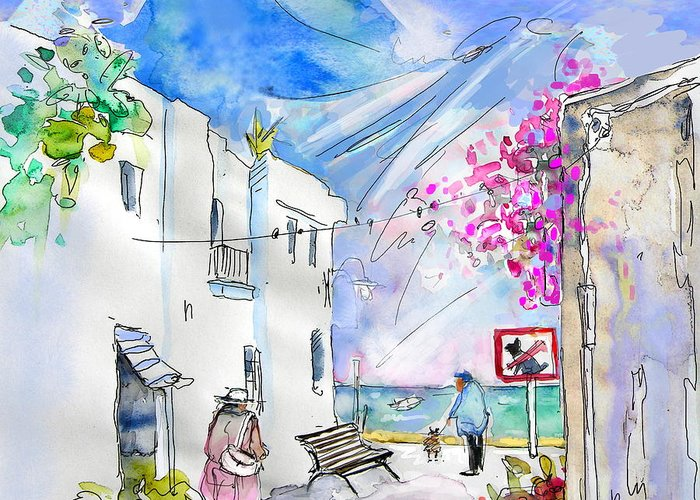 Village By The Sea Drawings Greeting Cards