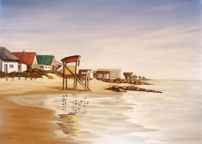 Seascape Sea Reflection Water Seaside Greeting Card featuring the painting Aguas Dulces by Natalia Tejera