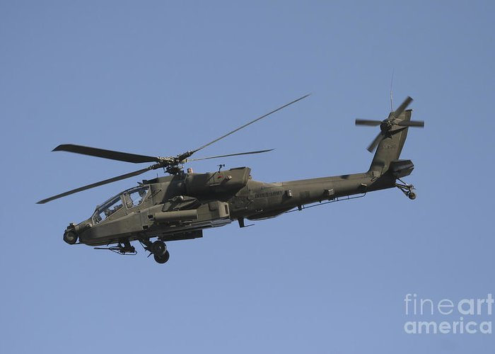Chain Gun Greeting Card featuring the photograph Ah-64 Apache In Flight Over The Baghdad by Terry Moore