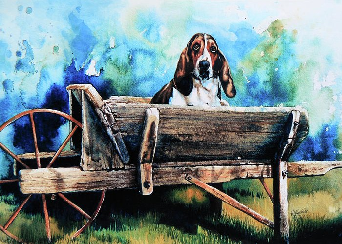 Dog In Wheelbarrow Greeting Card featuring the painting Ah Pooey by Hanne Lore Koehler