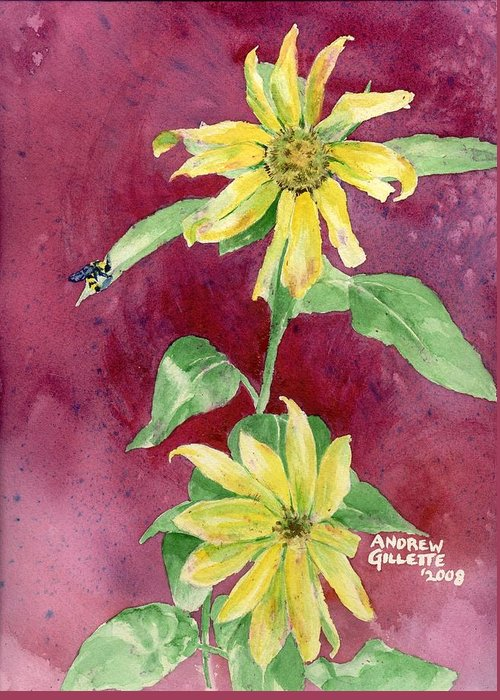 Sunflower Greeting Card featuring the painting Ah Sunflowers by Andrew Gillette