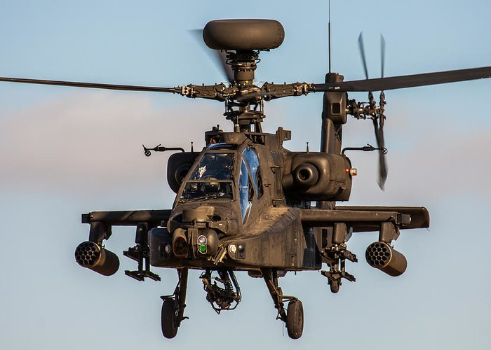 Attack Greeting Card featuring the photograph Ah64 Apache Flying by Ken Brannen