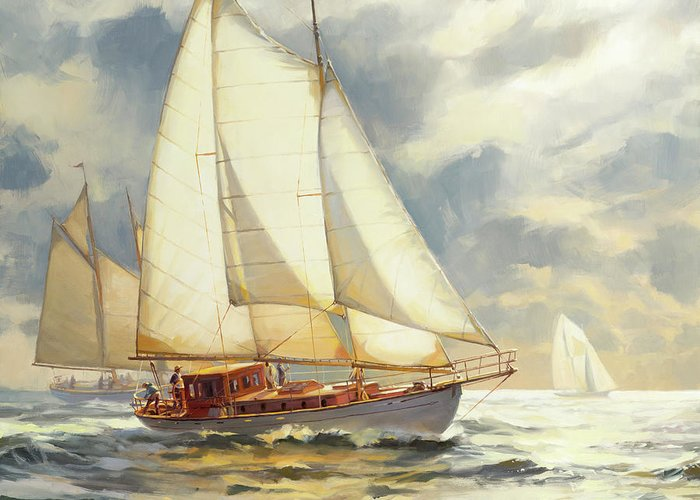 Sailboat Greeting Card featuring the painting Ahead of the Storm by Steve Henderson
