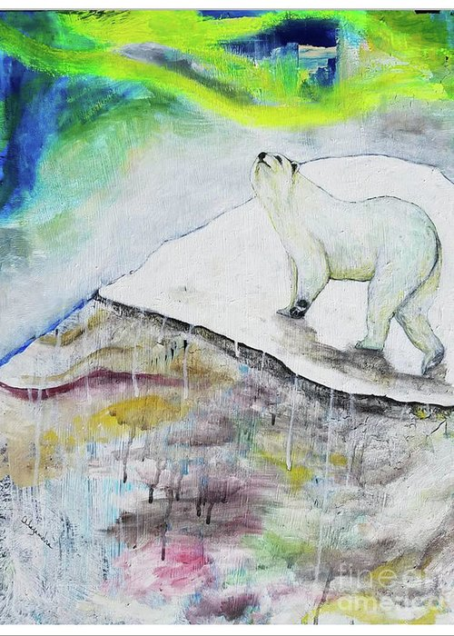 #polarbear #endangeredspecies #endangeredspeciesart #animals #artanimals Greeting Card featuring the painting Ahroarah Borealis by Abstract Alexandra
