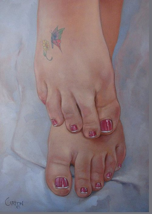 Pretty Feet Greeting Card featuring the painting Aimee by Jerrold Carton