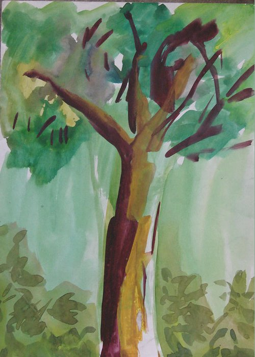 Tree Greeting Card featuring the painting Aimless by Panditjeeartgallery