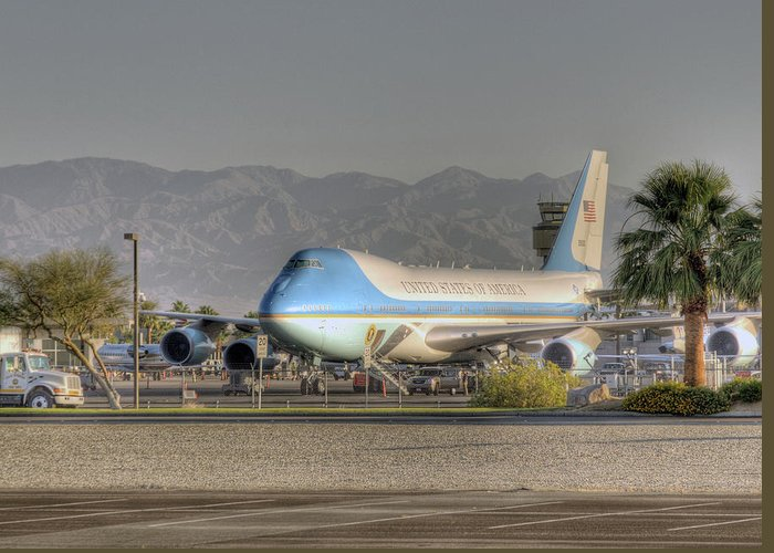 Palm Springs Greeting Card featuring the photograph Air Force One In Palm Springs by Matthew Bamberg