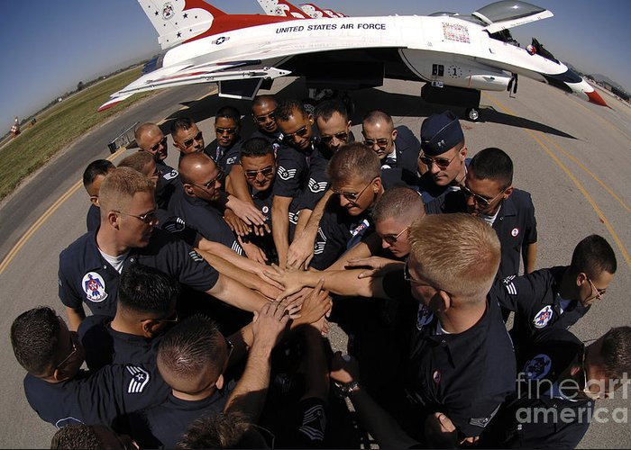 Adults Only Greeting Card featuring the photograph Air Force Thunderbird Maintainers Bring by Stocktrek Images