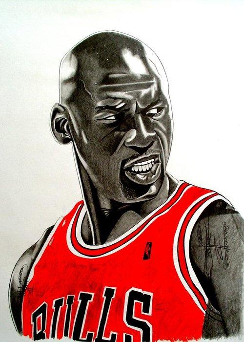 Michael Jordan Greeting Card featuring the drawing Air Jordan Raging Bull Drawing by Keeyonardo
