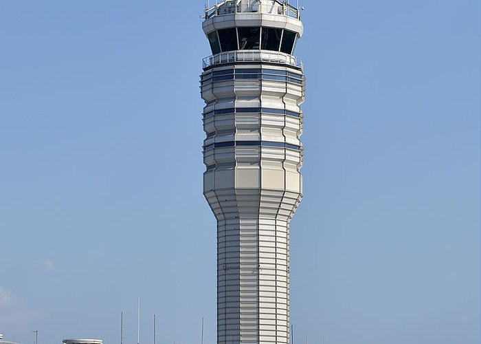 Ronal Greeting Card featuring the photograph Air Traffic Control Tower At Reagan National Airport by Brendan Reals