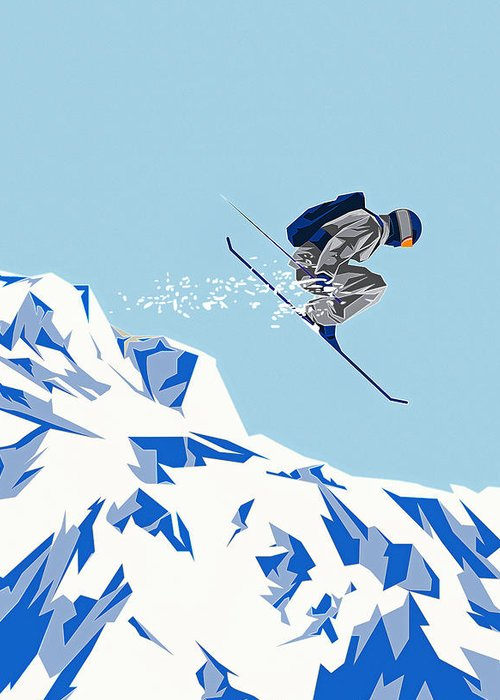 Sports Greeting Card featuring the painting Airborn Skier Flying Down The Ski Slopes by Elaine Plesser