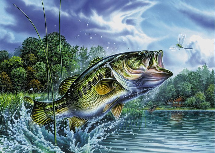 Airborne Bass Greeting Card featuring the painting Airborne Bass by Jon Q Wright