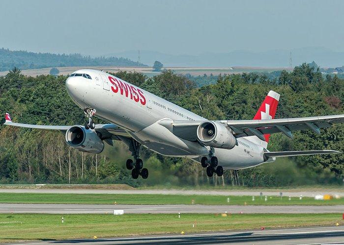 Airbus A330-300 Swiss Air Hb-jhc Greeting Card